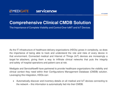 Medigate and ServiceNow: Comprehensive Clinical CMDB Solution